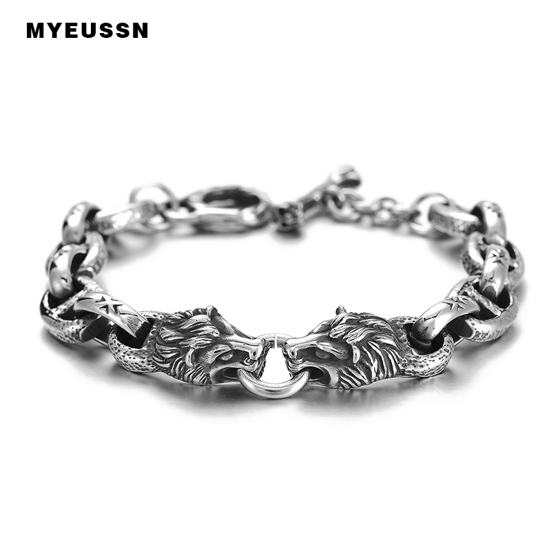 Lion Head Oval Link Silver Black Bracelet For Men 316L Stainless Steel High Quality Fashion Hip Hop Father's Day Jewelry Gift