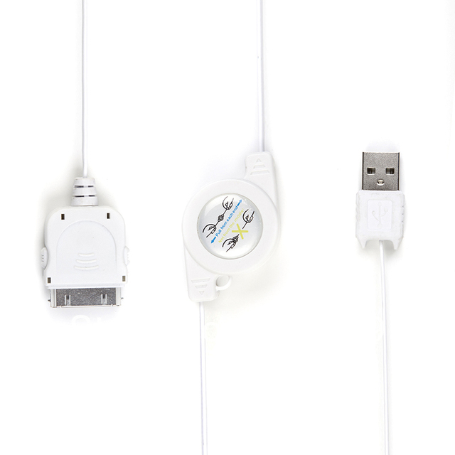 TIROL White USB  2.0  Retractable Cable 80 cm  For  iPhone4/4S/iPod/iPad Car Charger And Sync From Mac/Pc T20701a Free Shipping
