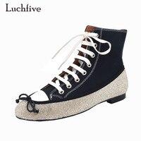 Luchfive Kristal Sınırlanmıştır Tuval Flats Ayakkabı Ilmek Çapraz Bağlı dantel up Mücevherli rahat düz Topuk Rahat Ayakkabılar Kadın