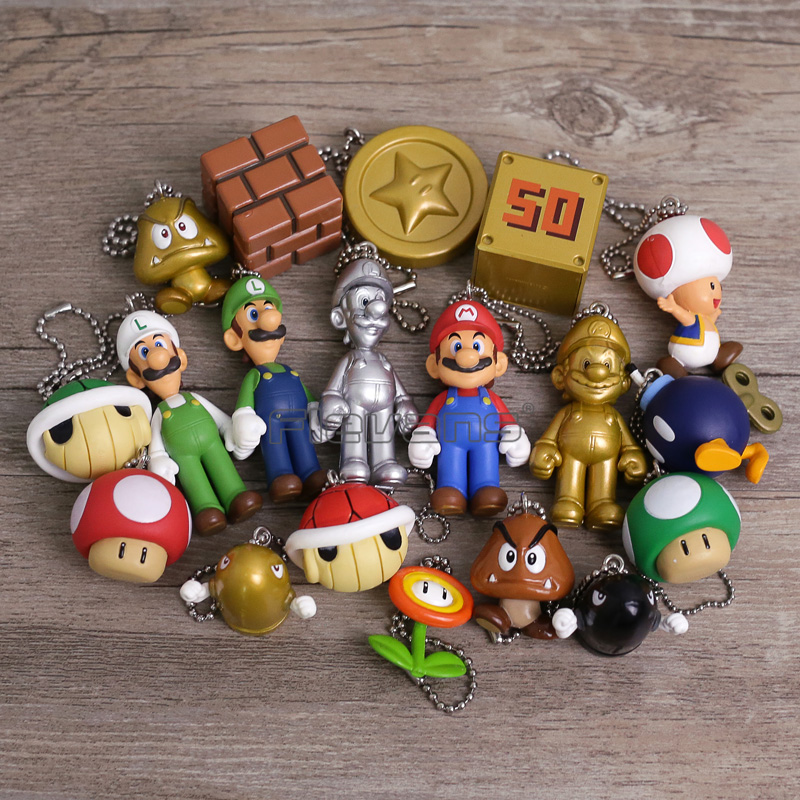 Super Mario Bros Mario/Luigi/Goomba/Mushroom/ PVC Figure Toys Mini Pendants Dolls 19pcs/set