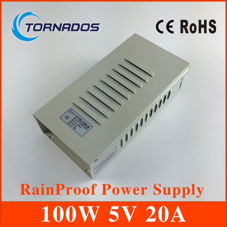 цена на 5V 20A 100W rainproof Switching led Power Supply,170~264V AC input 5V DC output for led strips FY-100-5