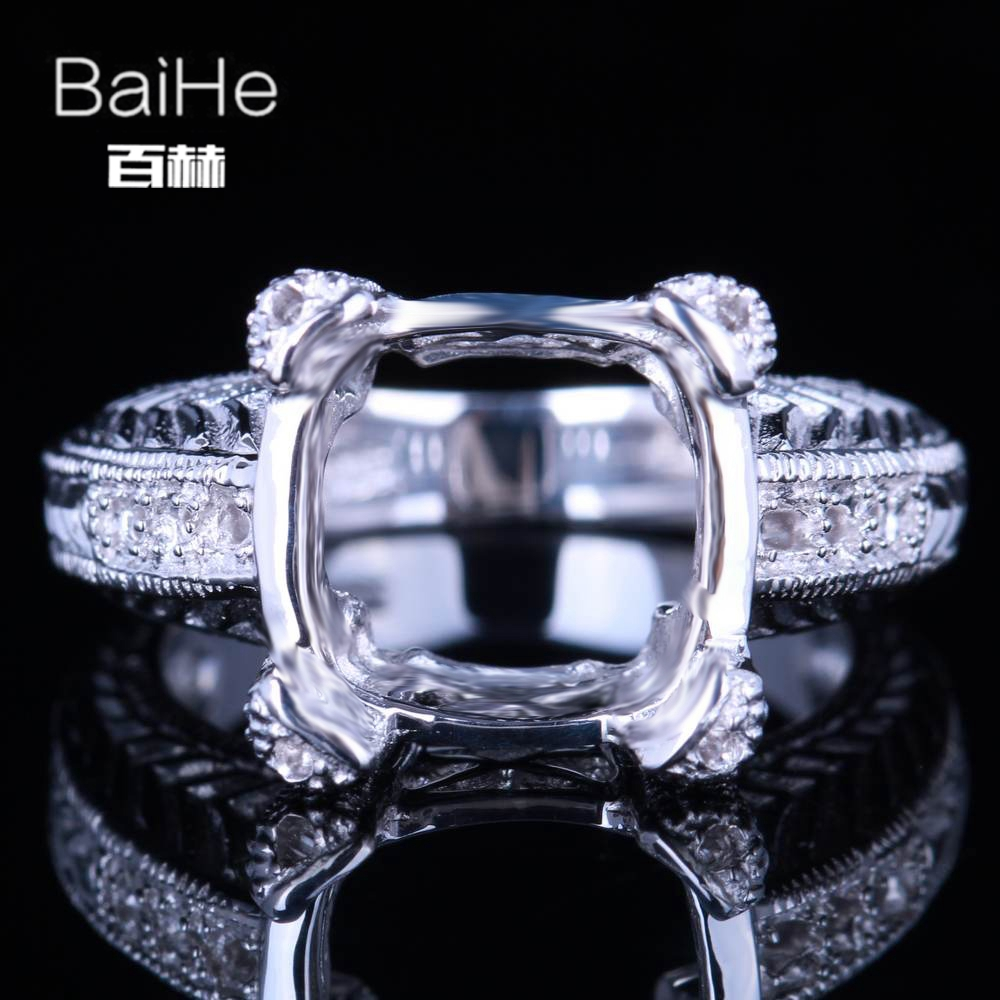 BAIHE Solid 10K White Gold Certified Cushion Cut Engagement Women Trendy Fine Jewelry Elegant unique Semi Mount Ring            BAIHE Solid 10K White Gold Certified Cushion Cut Engagement Women Trendy Fine Jewelry Elegant unique Semi Mount Ring