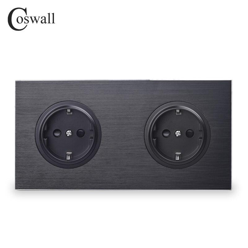 Coswall Luxueux Noir Panneau En Aluminium 16A Double Standard de L'UE Prise de Courant Murale 2 Façon Prise Terre Avec Enfant De Protection Serrure