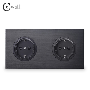 Coswall Luxurious Black Aluminum Panel 16A Double EU Standard Wall Power Socket 2 Way Outlet Grounded With Child Protective Lock()