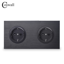 Coswall Luxurious Black Aluminum Panel 16A Double EU Standard Wall Power Socket 2 Way Outlet Grounded With Child Protective Lock
