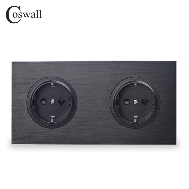 Coswall lujoso Panel de aluminio negro 16A doble enchufe de pared estándar de la UE toma de corriente de 2 vías con candado protector para niños