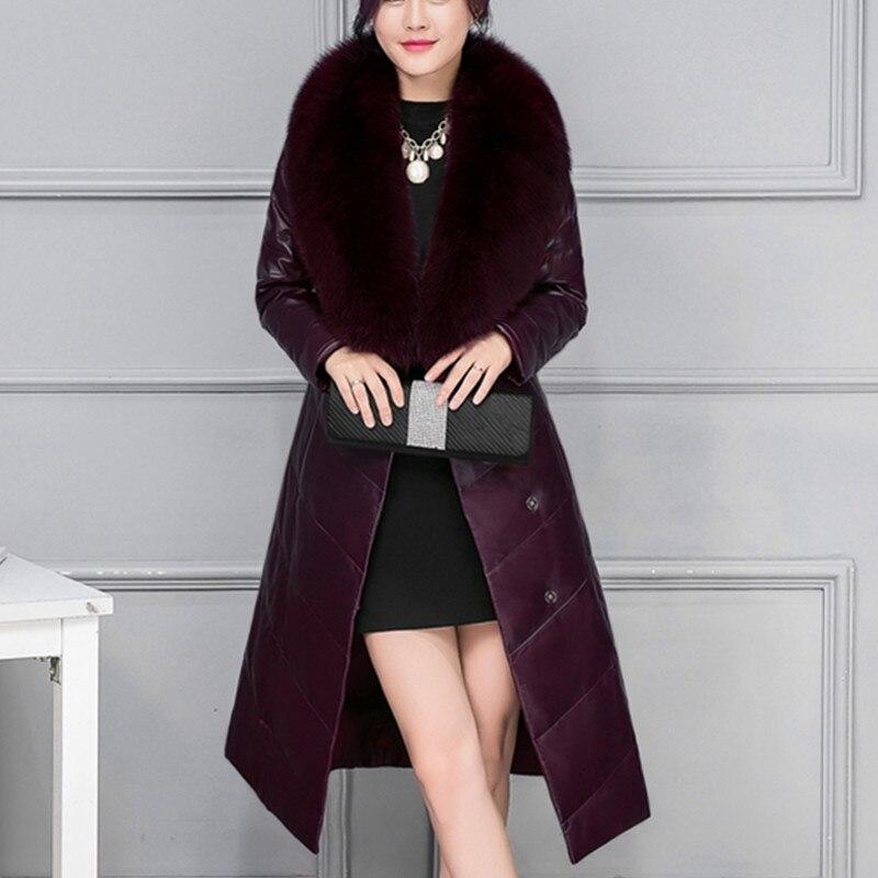 Cuir Veste Black De Manteau À 2018 A290 Section Sur Fourrure Longues Hiver purple Manches Femmes En Longue Genou Le Chaud Col Mode Épaississent zFxqH18fwf