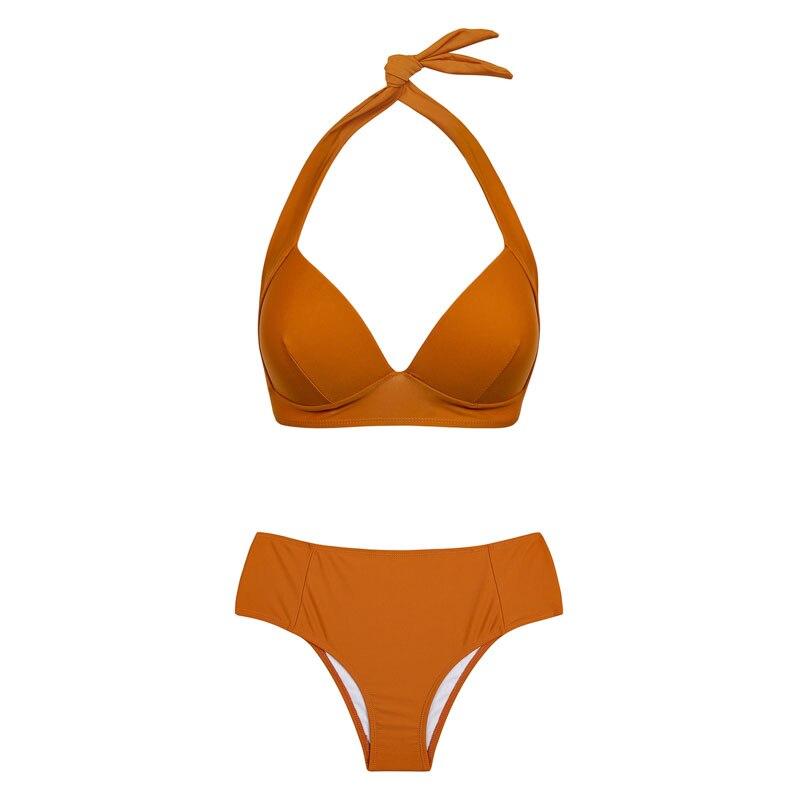 HTB1hgeXngKTBuNkSne1q6yJoXXaG - Halter high waist bikini women 2018 Push up plunge swimsuit solid sexy vintage swimwear female Sport bathing suit red bikini set