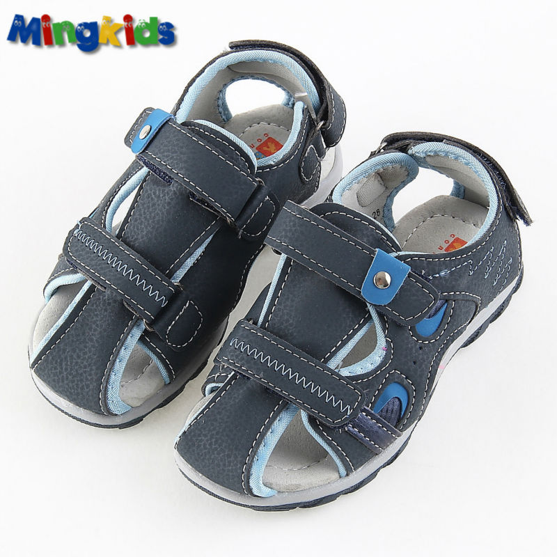Mingkids Casual Children Sandals closed-toe and soft genuine leather sole high quality boy sandals kindergarten durable