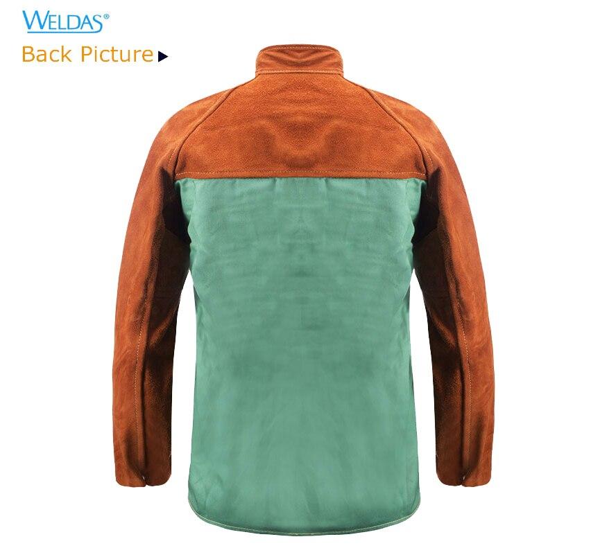 Flame Retardant Welder Clothing Split Cow Leather Fire Retardant FR Cotton Welding Jackets недорого