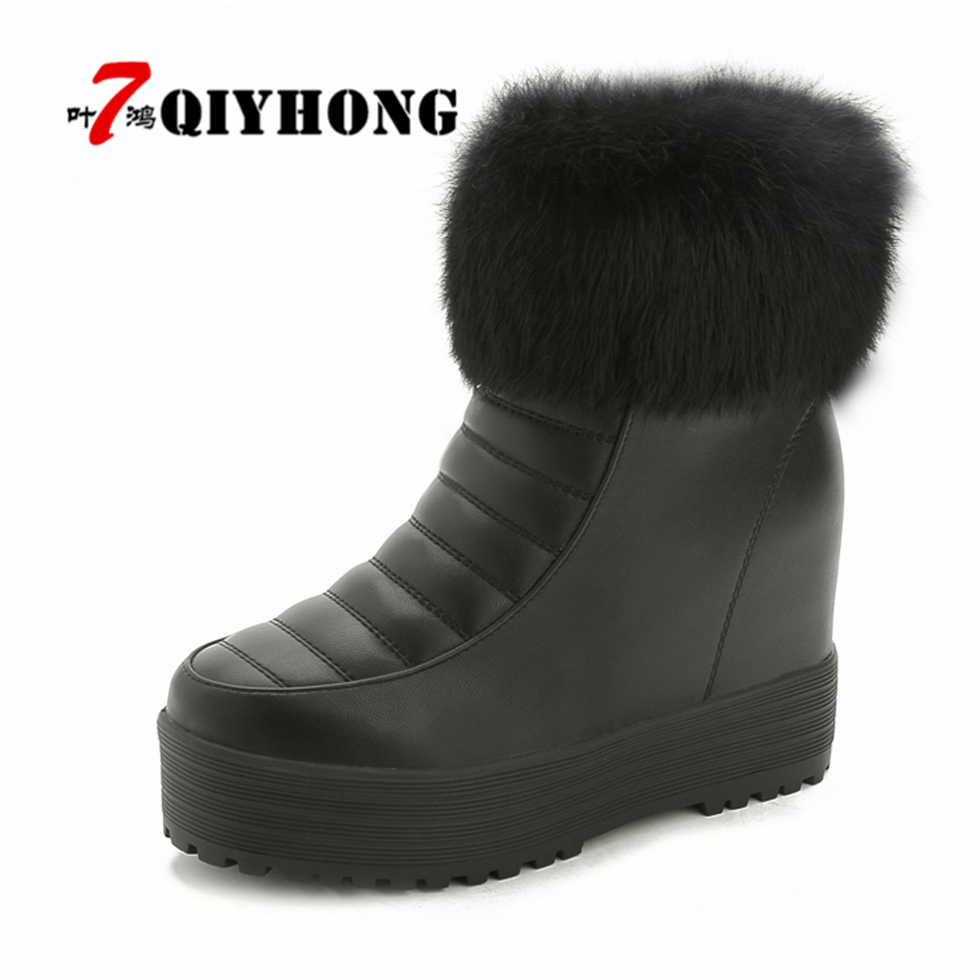 Hot Sale Women Snow Boots Fashion QIYHONG Brand Snow Boots Women 100% Genuine Leather Ankle Boots Warm Winter Boots Women Shoes winter women snow boots fashion footwear 2017 solid color female ankle boots for women shoes warm comfortable boots