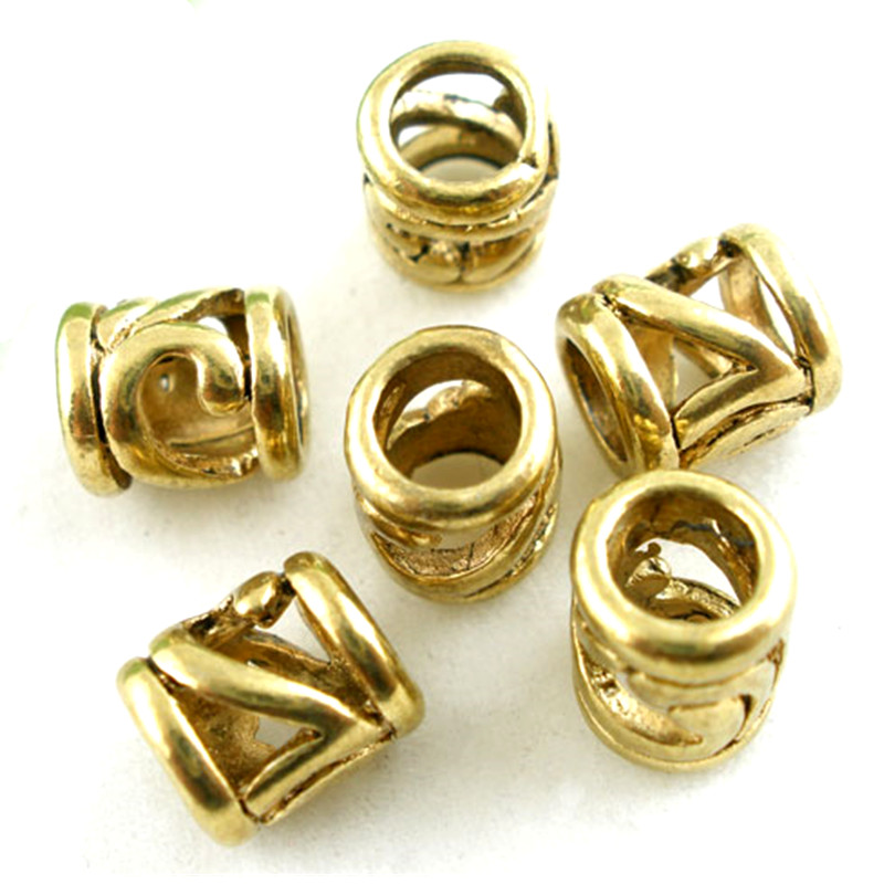 30Pcs Gold Tone Floral Hollow Spacer Beads Fit European Snake Chain Charm Bracelets Jewelry DIY Component 8x7mm
