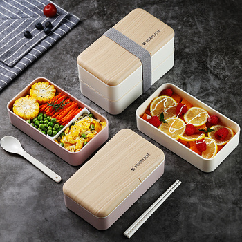 2 Layer Microwave Lunch Box Japanese Wood Bento Box for Kids Food Container Storage Portable School Picnic With Lunch Bag 1200ml 1