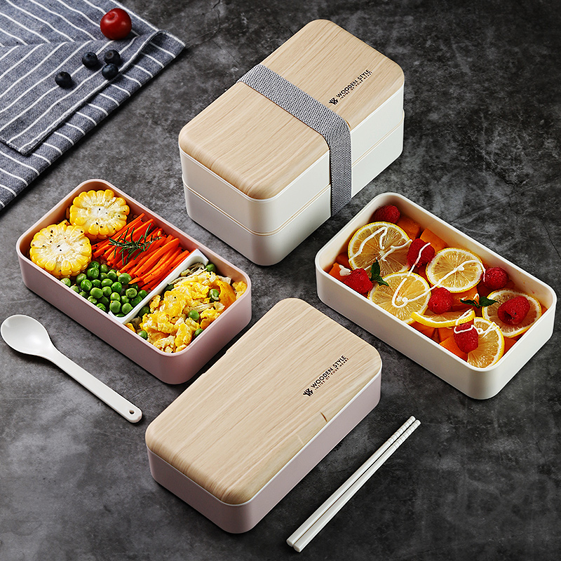 2 Layer Microwave <font><b>Lunch</b></font> <font><b>Box</b></font> Japanese <font><b>Wood</b></font> Bento <font><b>Box</b></font> for Kids Food Container Storage Portable School Picnic With <font><b>Lunch</b></font> Bag 1200ml image