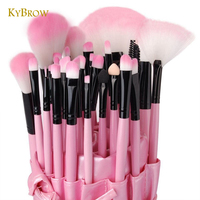 KYBROW 32 Piece Makeup Brush Set Professional Pink Glory Cosmetic Powder Blending Eyeshadow Brush Synthetic Application