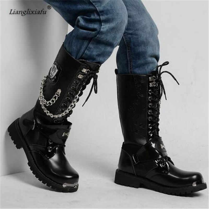 LLXF CDTS boyutu: 37-44 45 kış Erkek Metal zincir ayakkabı Orman çöl savaş artış kadife bot Ile