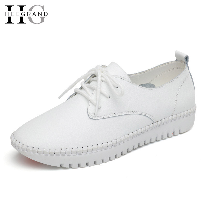 HEE GRAND Women Flats For Spring 2017 NEW Solid Lace-up Casual Shoes Woman PU Leather Platform Shoes Woman Size 35-40 XWD5355 hee grand lace up gladiator sandals 2017 summer platform flats shoes woman casual creepers fashion beach women shoes xwz4085