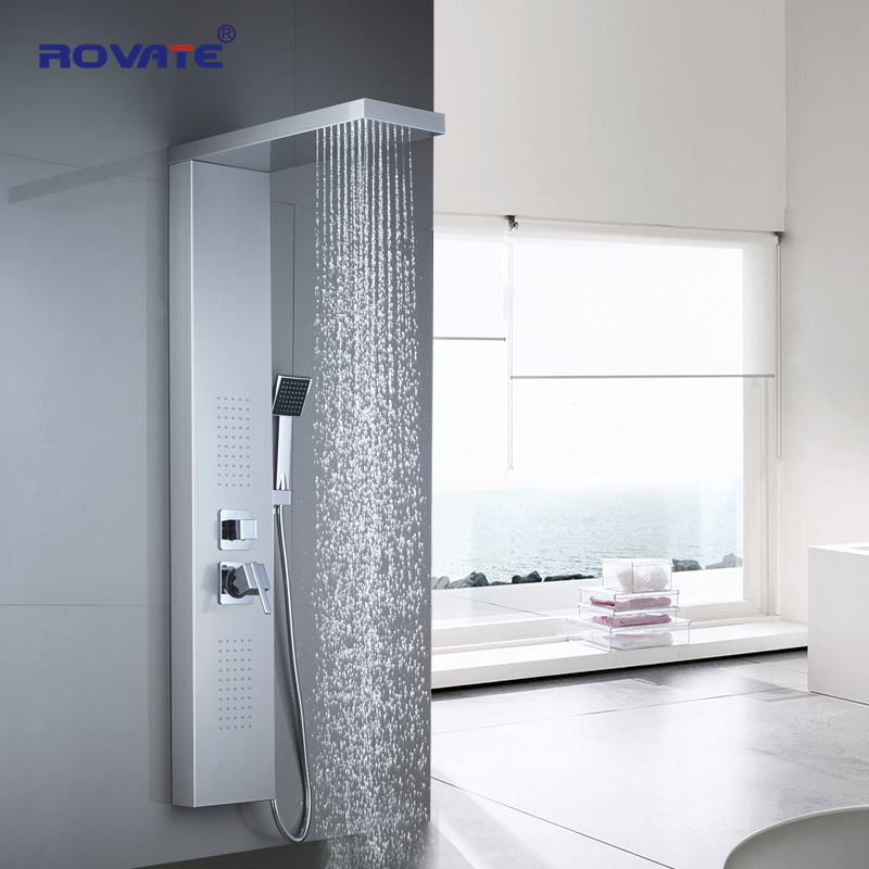Image 1 - ROVATE Bathroom Shower Panel 304 Stainless Steel Bath Shower Set with Hand Shower Wall Mount Shower FaucetsShower Faucets   -