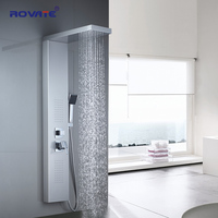 ROVATE Bathroom Shower Panel 304 Stainless Steel Bath Shower Set with Hand Shower Wall Mount Shower Faucets