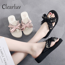 2019 new bow pearl slippers female seaside vacation beach flip flops flat wild wear sandals women free shipping size 36-42 C1001