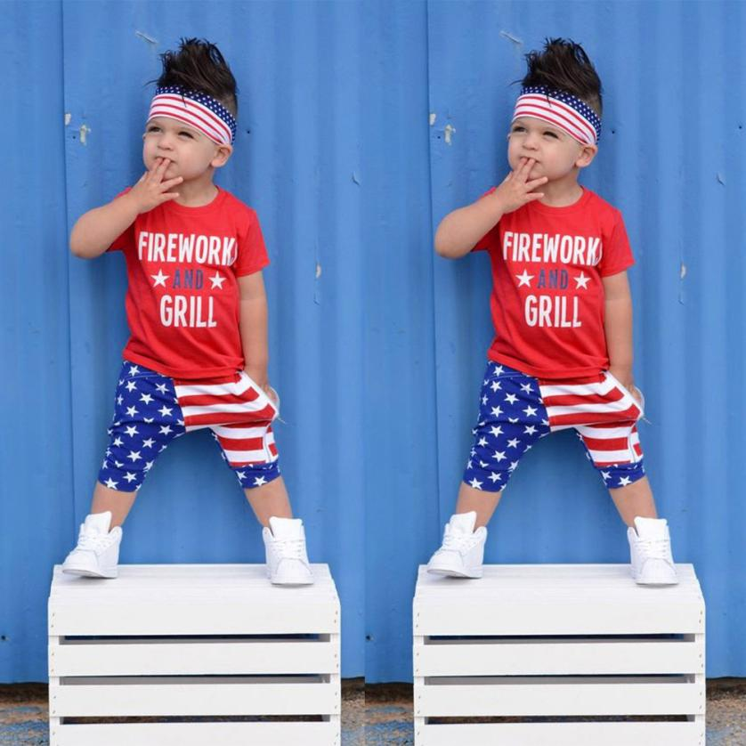 New Arrival Toddler Baby Girl Boys Letter Tops T Shirt Stars Striped 4th Of July Outfits Set Baby Boy Clothes Childrens Sets