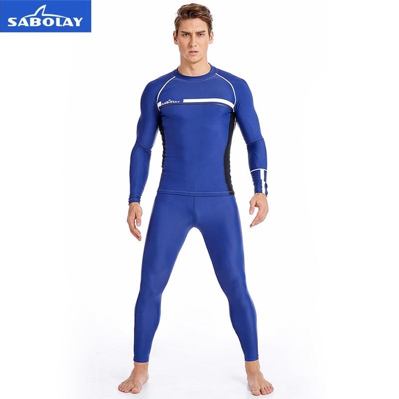 SABOLAY Men Rashguard Lycra Super Elastic Long Sleeve Surfing Diving Suit Sunscreen UV Quick dry Swimwear Protect T-shirt Pants