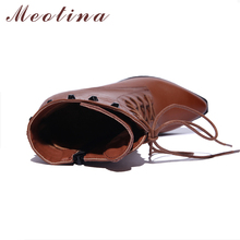 Meotina Natural Genuine Leather Shoes Women Boots High Heel Ankle Boots Rivets Lace Up Motorcycle Boots Zip Ladies Shoes Size 10