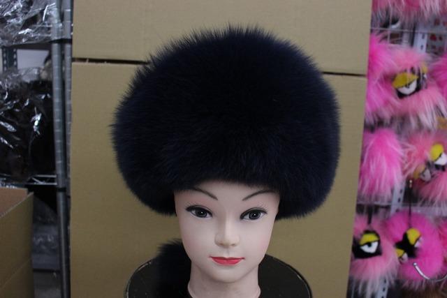 Freeshipping quente no inverno gorro de pele de raposa verdadeira pele de raposa mulheres chapéu