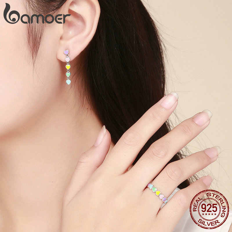 BAMOER authentique 925 en argent Sterling ensemble de bijoux arc-en-ciel coeur à coeur anneaux et boucles d'oreilles ensembles de bijoux en argent Sterling bijoux