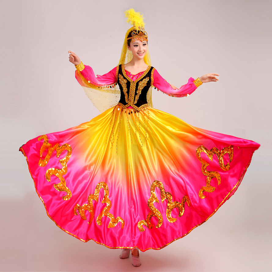 7e3f0db7a 2017 Real Disfraces New Uighur Costumes Chinese Folk Dance Dress Xinjiang  Characteristic Clothes Belly Indian Performance Wear