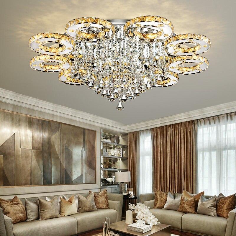 Lampes de plafonnier à LED en cristal modernes pour salon luminaria teto cristal lampes de plafond pour la décoration de la maison livraison gratuite