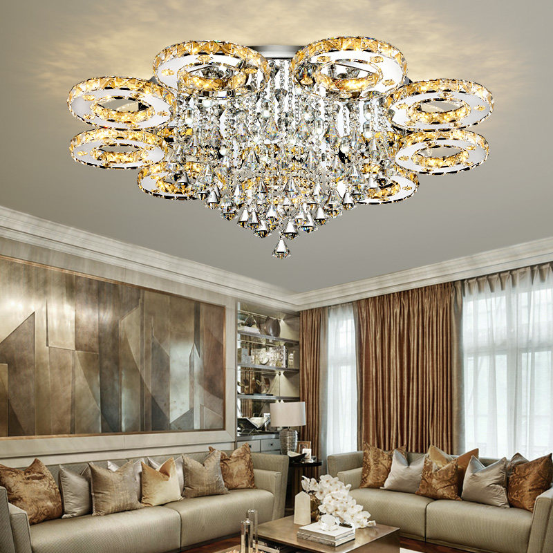 Modern Led Crystal Ceiling Lights For Living Room luminaria teto cristal Ceiling Lamps For Home Decoration Flush Crystal Ceiling Lights | Crystal Flush Mount Ceiling Light | Modern Led Crystal Ceiling Lights For Living Room and For Home Decoration with Voltage 85-265V