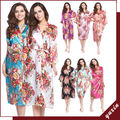 14 Color Long floral robe Bride Kimono bridesmaid Robe satin Night dress 001