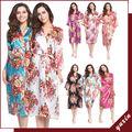 14 Color de Larga floral Novia Kimono bata Bata de satén de dama de honor vestido de Noche 001