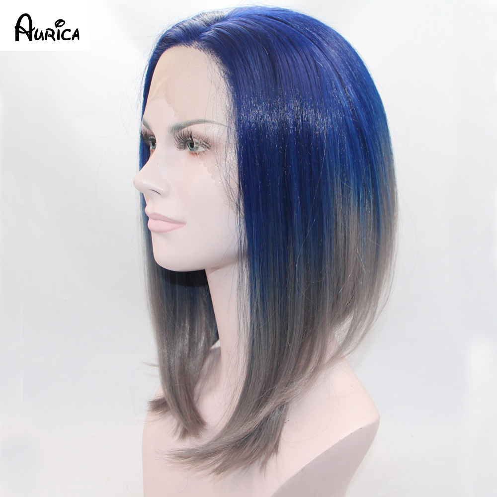 ФОТО Aurica Natural Ombre Dark Blue Light/Silver Grey Short Bob Synthetic Lace Front Wig Glueless Heat Resistant Hair Women Wigs