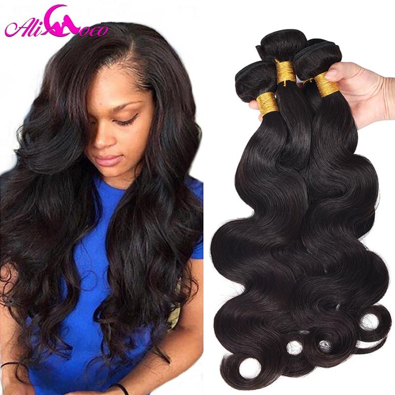 Ali Coco brasilianska Body Wave 4 Bundles Mänskliga - Mänskligt hår (svart)