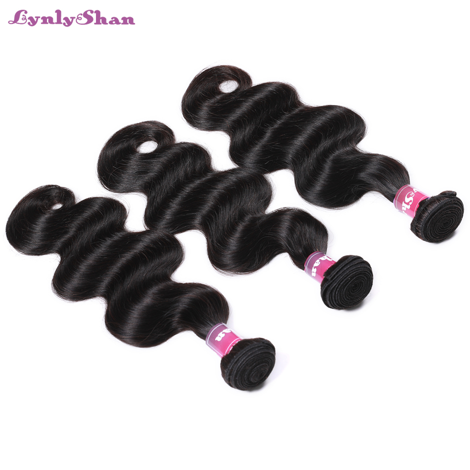 Lynlyshan Hair Brazilian Body Wave Hair 3 Bundles 100 Remy Human Hair Weaves Tangle Free Full Cuticle Aligned Human Hair in Hair Weaves from Hair Extensions Wigs