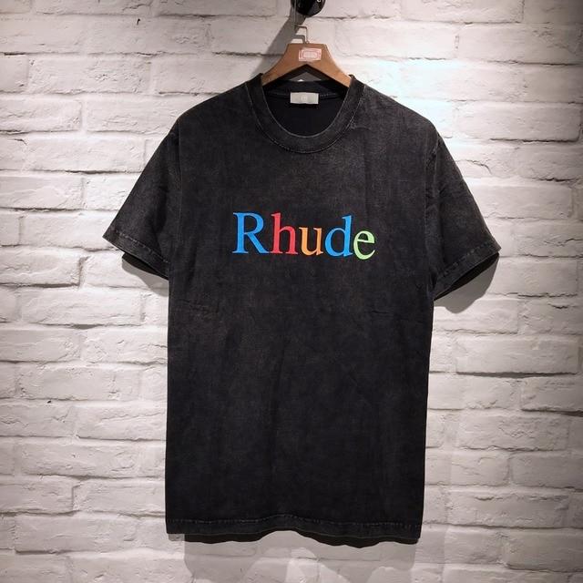 32d2a799e3b9 2019 NEW justin bieber RHUDE Rainbow letter Printing men short sleeve T- shirt HIP HOP