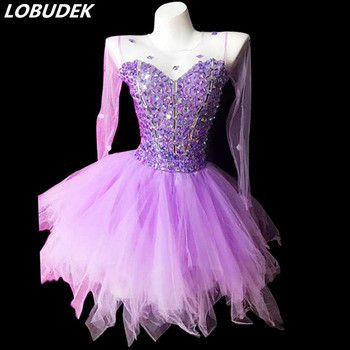 2019 New Fashion Women Purple Rhinestones Bubble Dress Singer Nightclub Clothing Birthday Party Short Dress Dancer Stage Costume