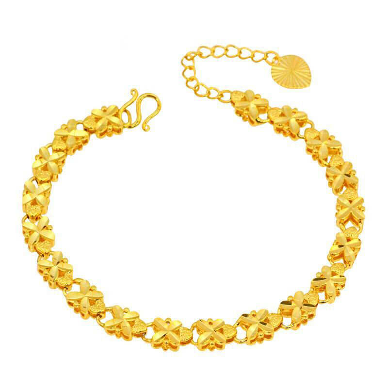 MxGxFam ( 215*6mm ) 24 k Pure Gold Color Embroidery Flower Bracelets Jewelry For Women High Quality Nickel Lead Free