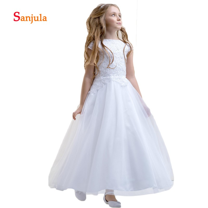 Cap Sleeve White Tulle   Flower     Girls     Dresses   A-Line Appliques   Girls   Birthday Party   Dresses   Long sukienki komunijne D181