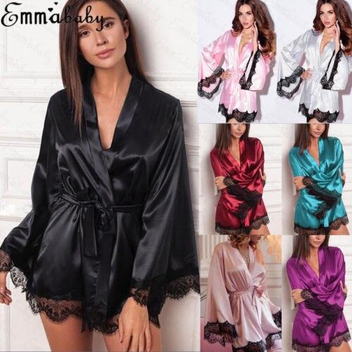 Hirigin Sexy Dessous Satin Spitze Robe Braut Brautjungfer Kleid Pyjama Kimono Bademantel Dame Nacht Nachtwäsche Gute QualitäT