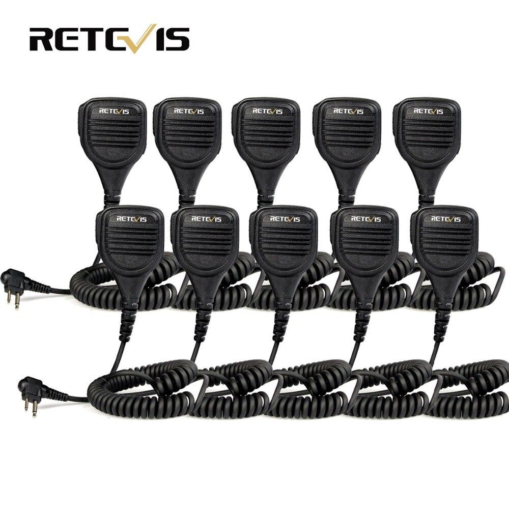 10 pcs Retevis 2 Pin Speaker Mic for Motorola Walkie Talkie GP68 GP88 GP300 GP2000 CT150