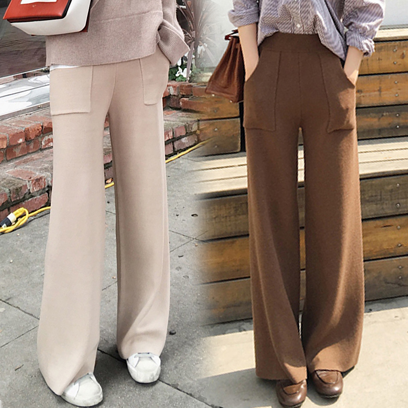 New winter fashion thick woolen high waist   wide     leg     pants   female loose big yards straight trousers flared trousers