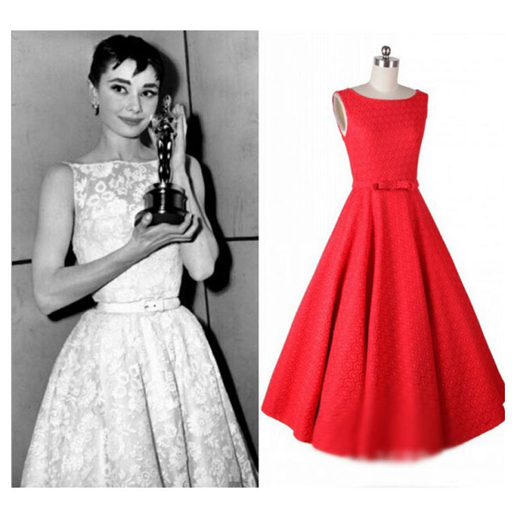 High quality fashion hot style star Elegant lady women's frock dress red and white big swing dress to collect the waist