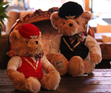 цена на Pilot Teddy Bear Flight Attendant Bear Doll Plush Toy Doll Dress Bear Birthday Gift Captain Teddy Bear