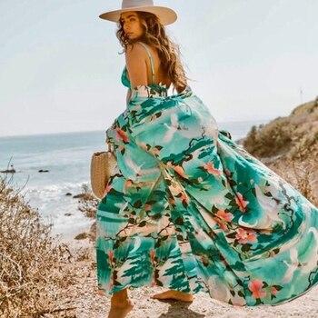 Sexy Women Green floral Print Beach Cover Up Bikini Long Cover ups Cardigan Swimwear Beach Dress cotton pareo beach Bathing Suit beach hawaii print cover up slip dress
