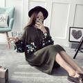 [XITAO] 2016 inverno loose women sweater moda Coréia do sexo feminino pullover O-pescoço lantejoulas manga comprida knitting sweater sólidos HHY003