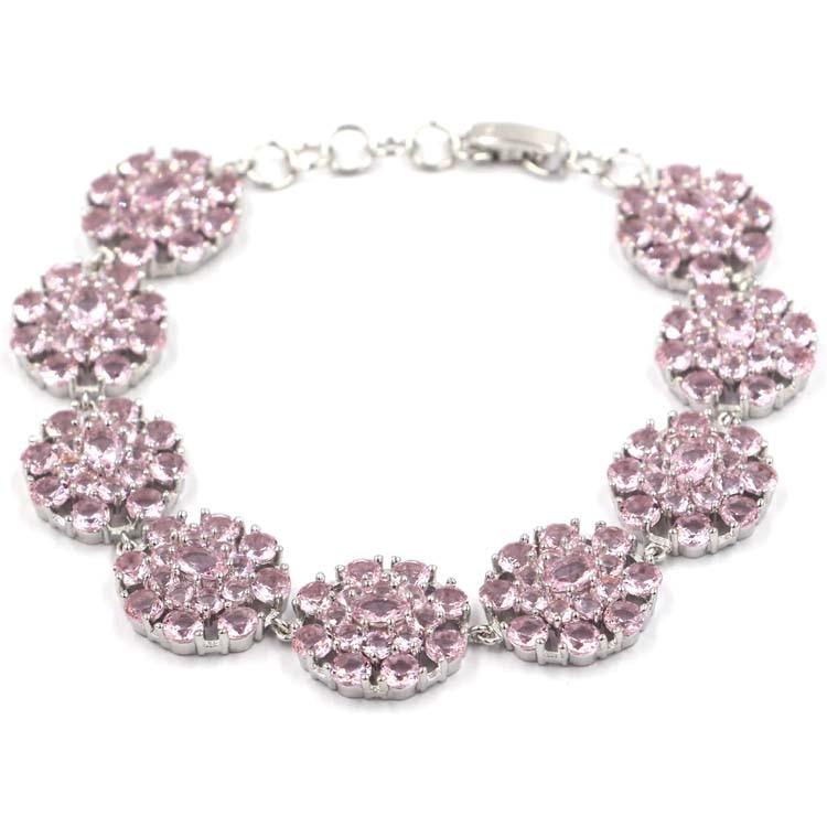 Hot Sell 28 8g Pink Kunzite Woman s Present Silver Bracelet 7 0 7 5in 18x17mm