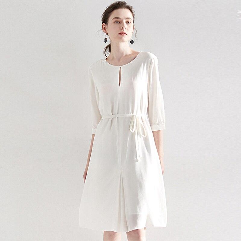 High end Dress Women 100 Heavy Silk Elegant Style O Neck Half Three quarter Sashes Grade